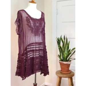 Free People purple sheer lace oversized blouse